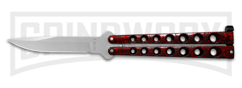 Beautiful Scoundrel red and black butterfly knife. Affordable, budget balisong perfect for beginners.